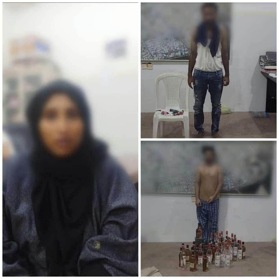 القبض على امرأة مع عصابة تقوم ببيع الخمور والحشيش في عدن